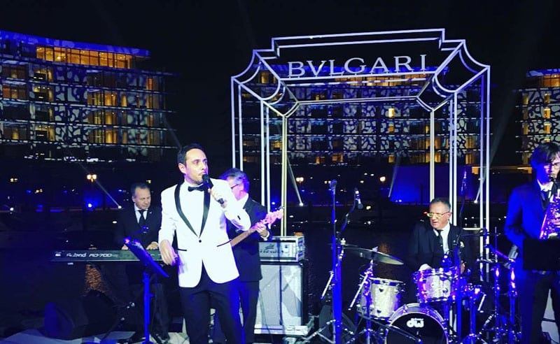 Italian crooner Matteo Brancaleoni with the Italian Swing Band in Dubai at Bulgari Resort